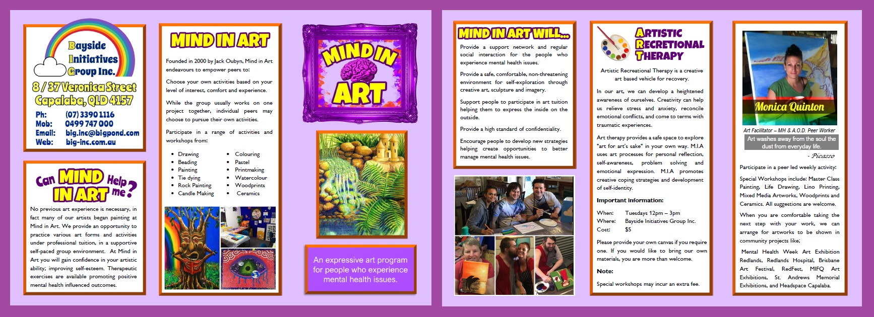 Mind in Art Brochure - MIND in ART is a peer support based expressive art program for mental health consumers in the Redlands and Bayside areas.