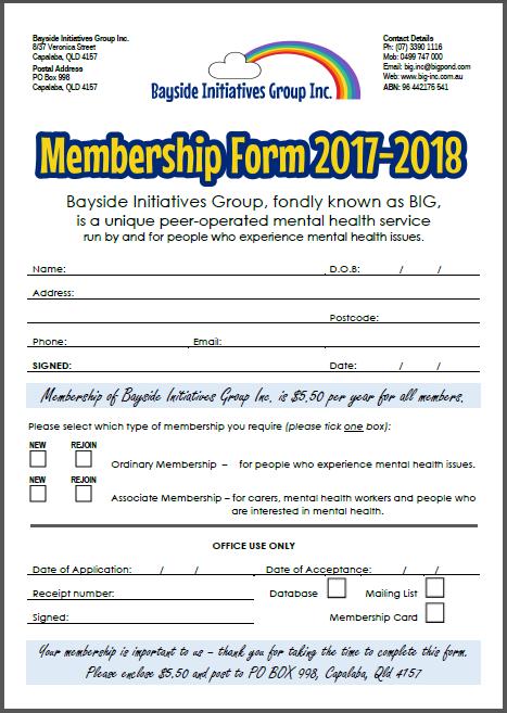 Bayside Initiatives Group Inc. Membership Form