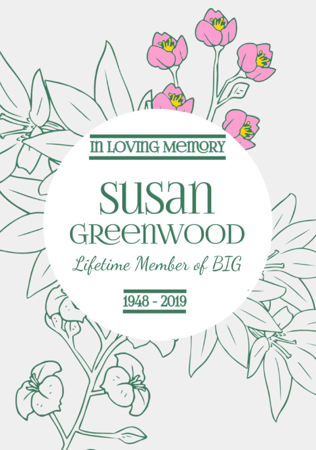 Susan Greenwood (1948- 2019) Memorium - front page
