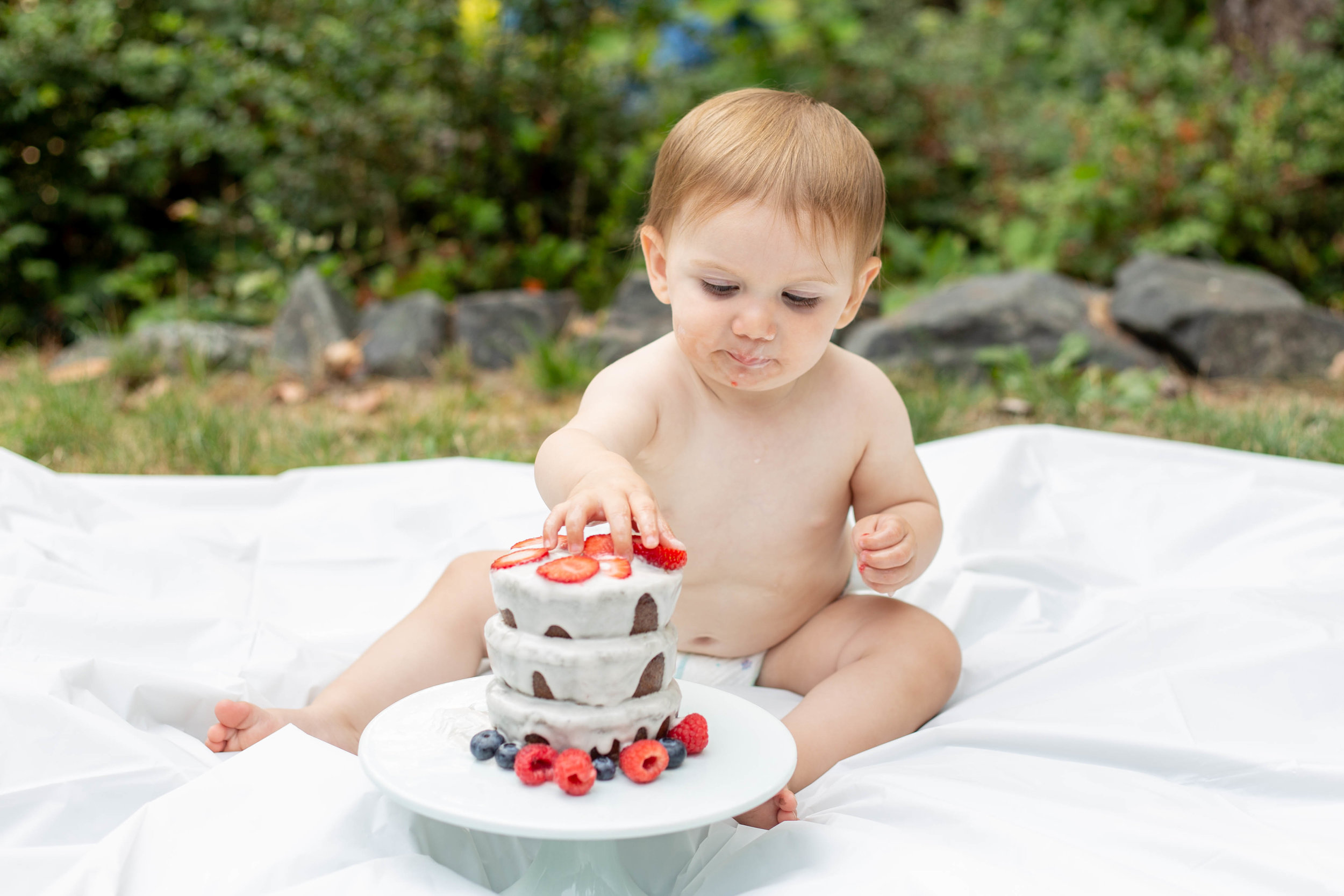 Cake Smash - Cake Smash sessions are for baby only and should be done as close to baby's actual birthday as possible and can be done on the same day as a 1 Year session. Cake not provided.