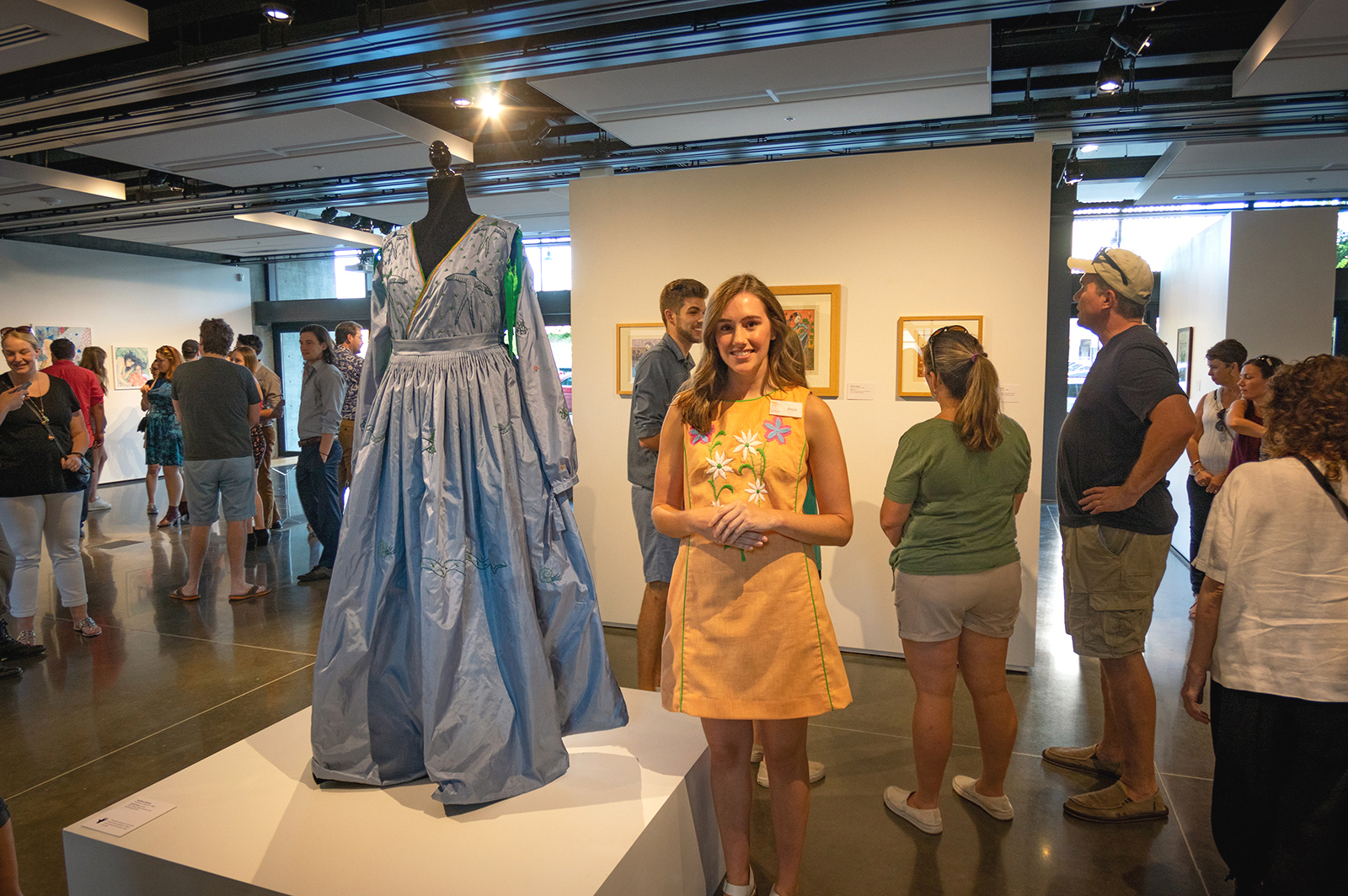 Dusk Dress  costume and linoleum block prints by Kathleen Neeley (pictured).  Spection  opening reception, August 3, 2018.  Photo credit: Thomas Shahan