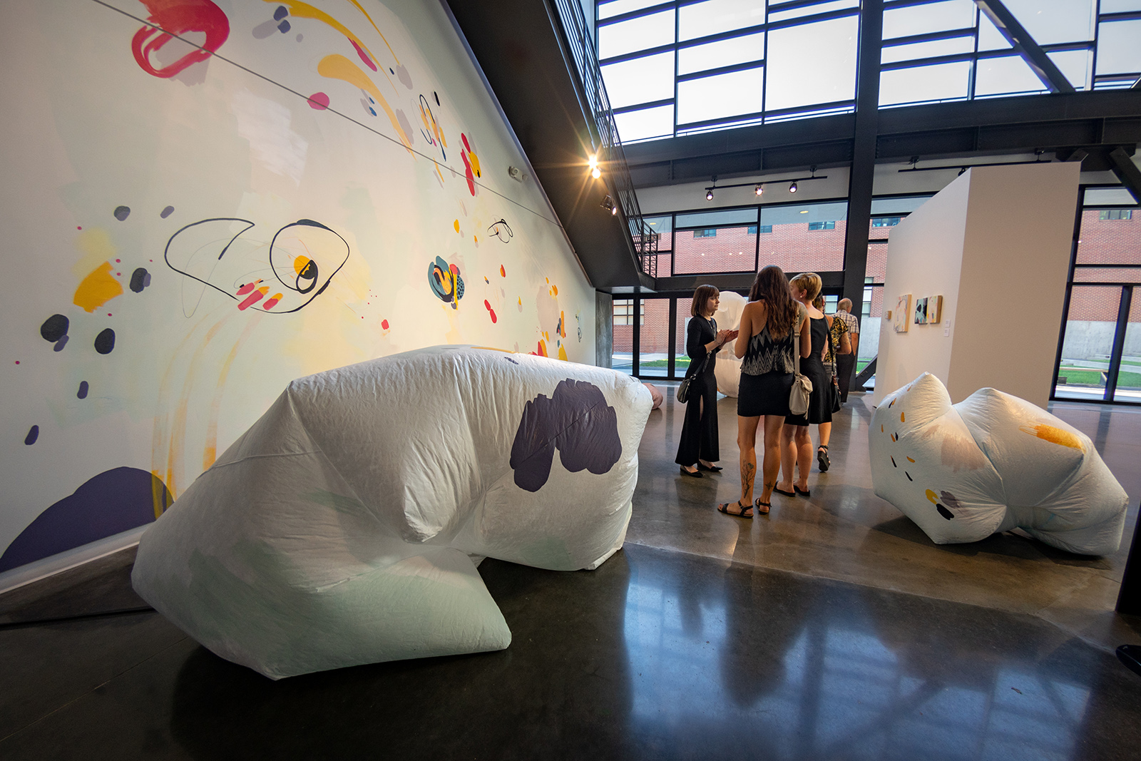 Mural and tyvek sculptures by Katelynn Noel Knick.  Spection  opening reception, August 3, 2018.  Photo credit: Thomas Shahan