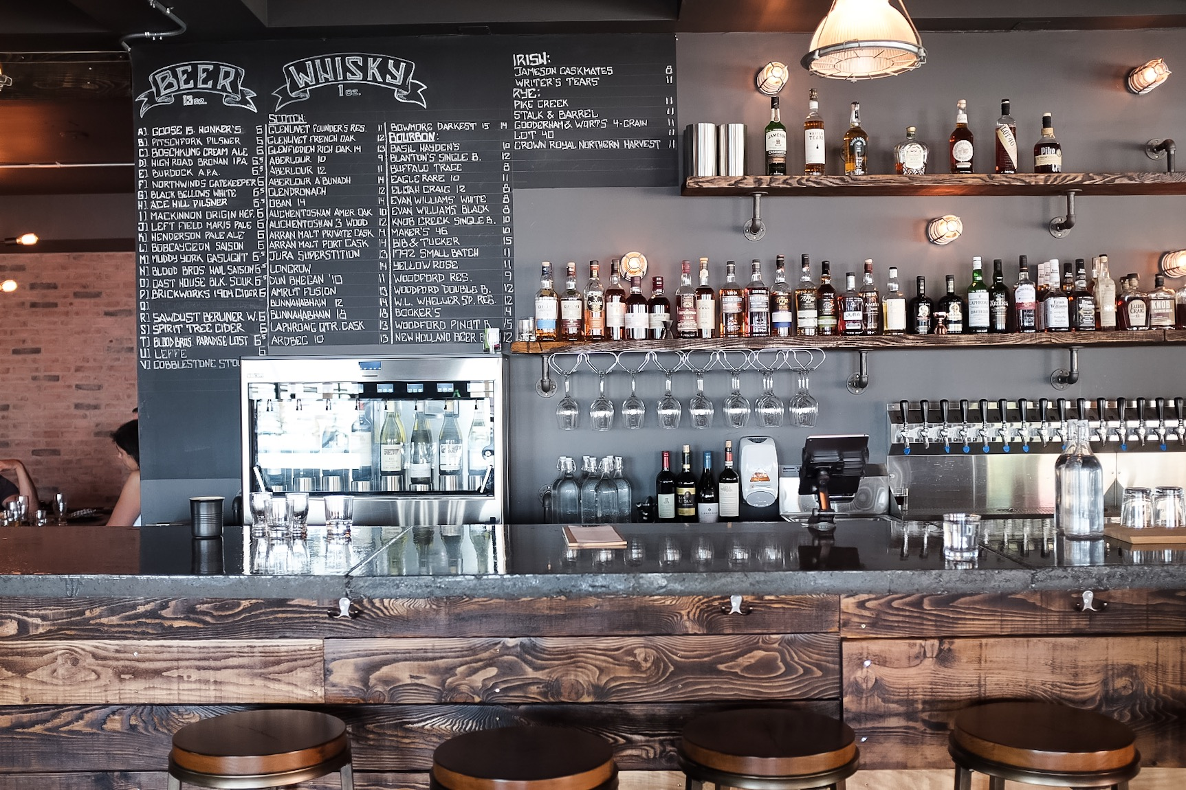 A well stocked bar and 'enough whisky to ruin a wedding' according to Boxcar Social.