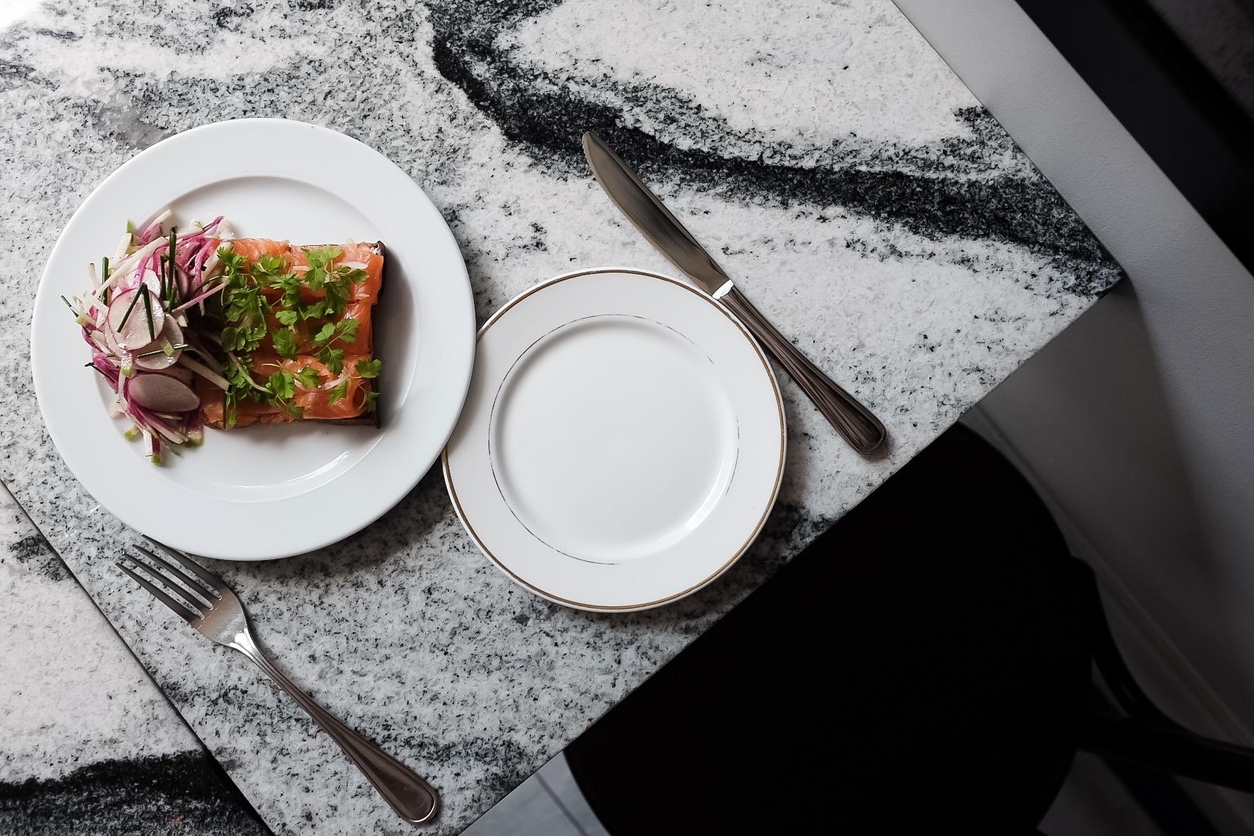 The beautiful Trout Tartine and a fresh radish salad.