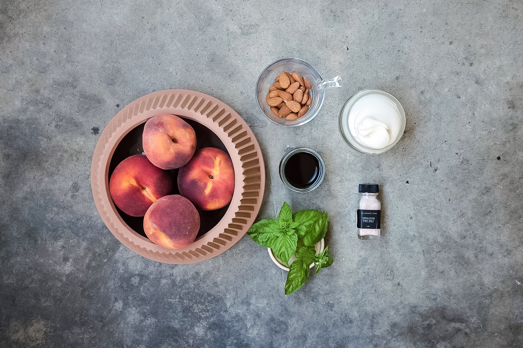 Fresh Ontario peaches and basil from my garden and we are all ready to start cooking.