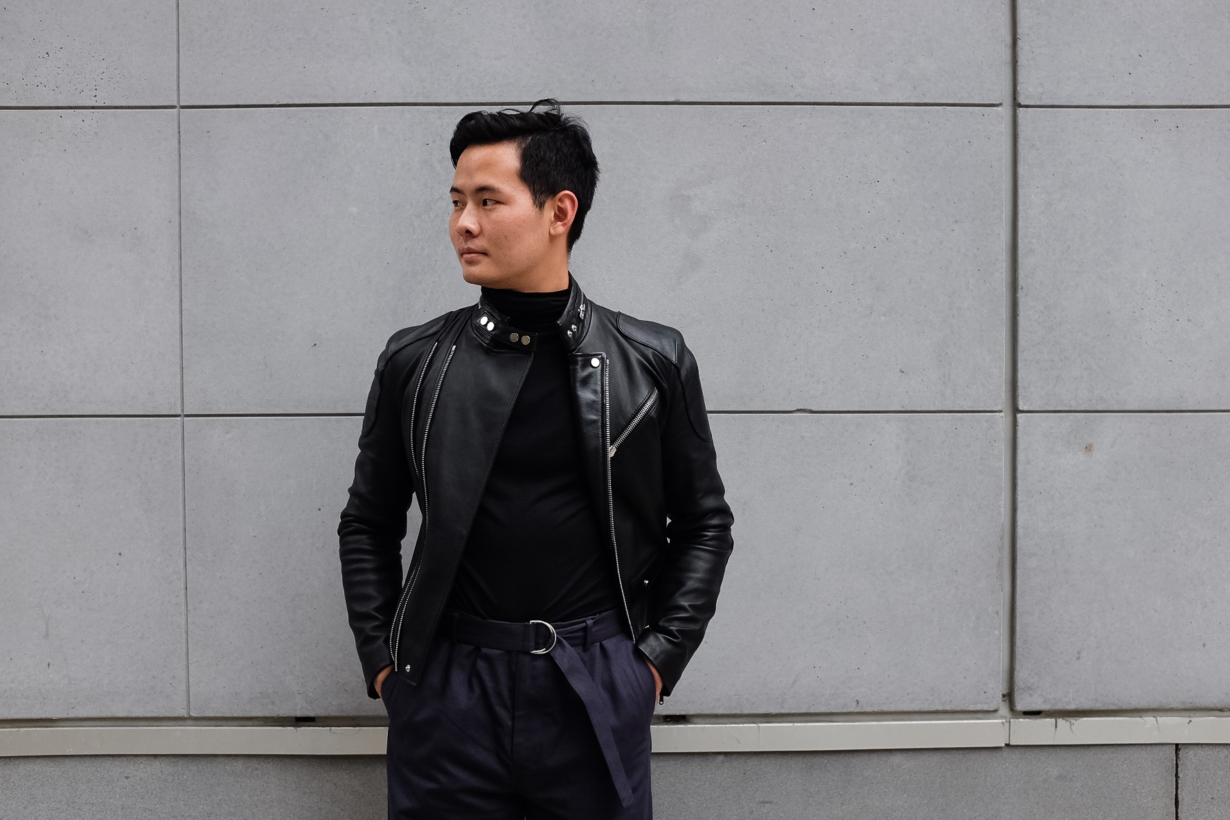 Definitely living for those leather and turtleneck days.