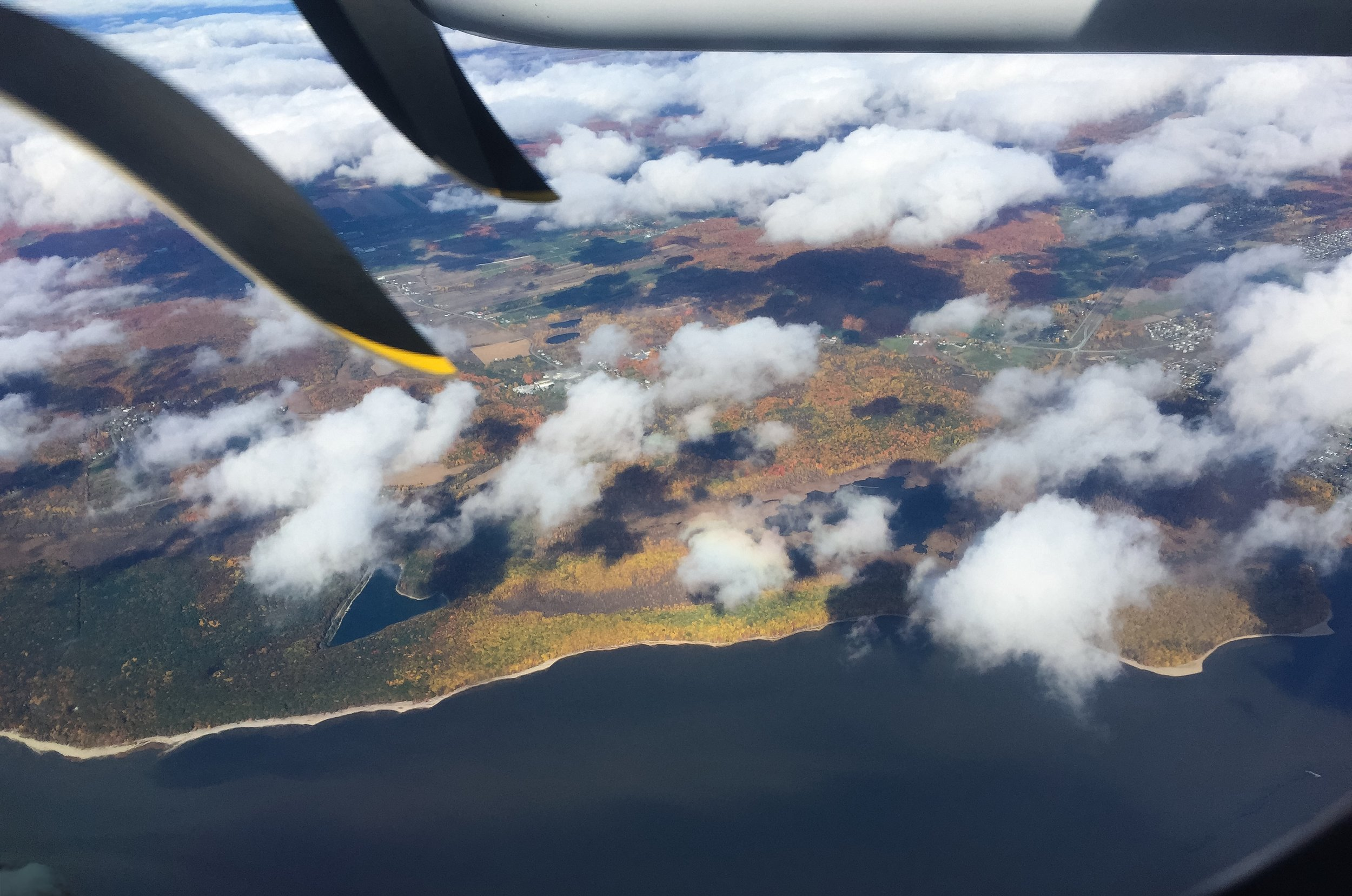 Flying over Canada in the fall.