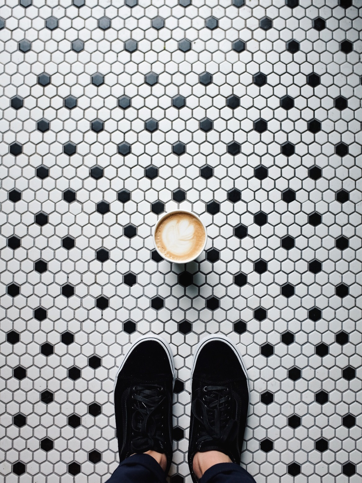 coffee shot on tiles vans