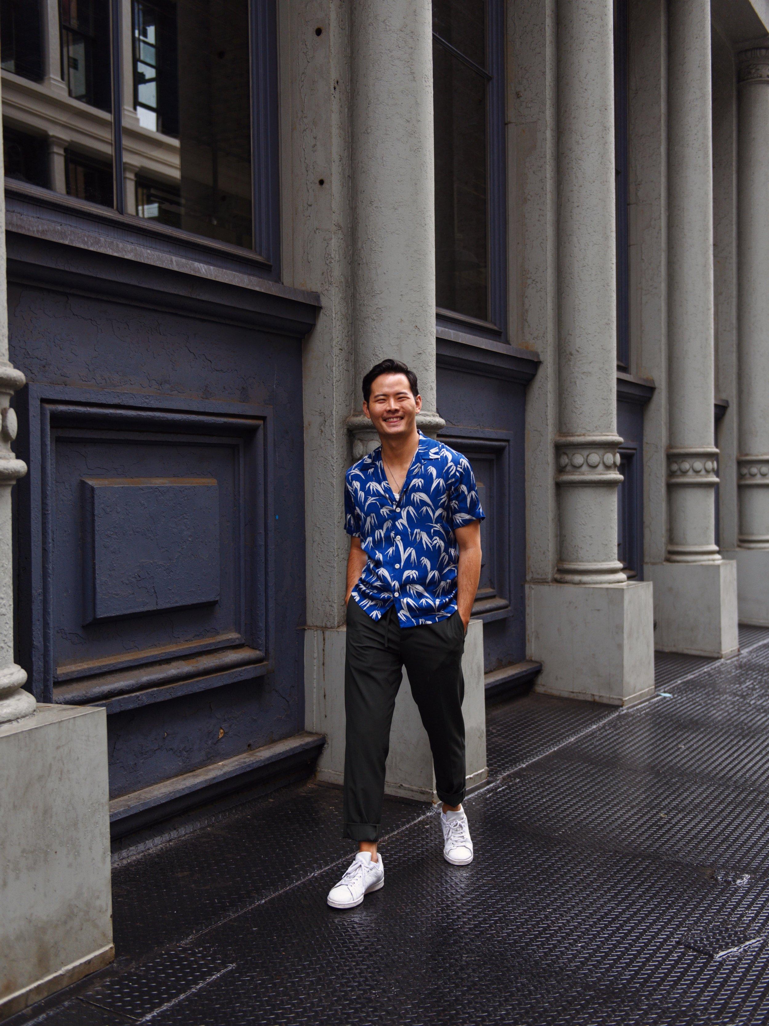ootd menswear hawaiian shirt sandro