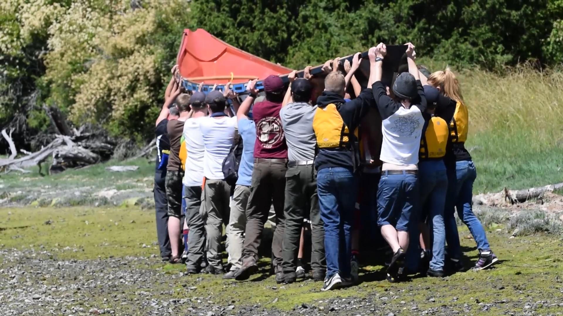 Youth Corps raise canoe
