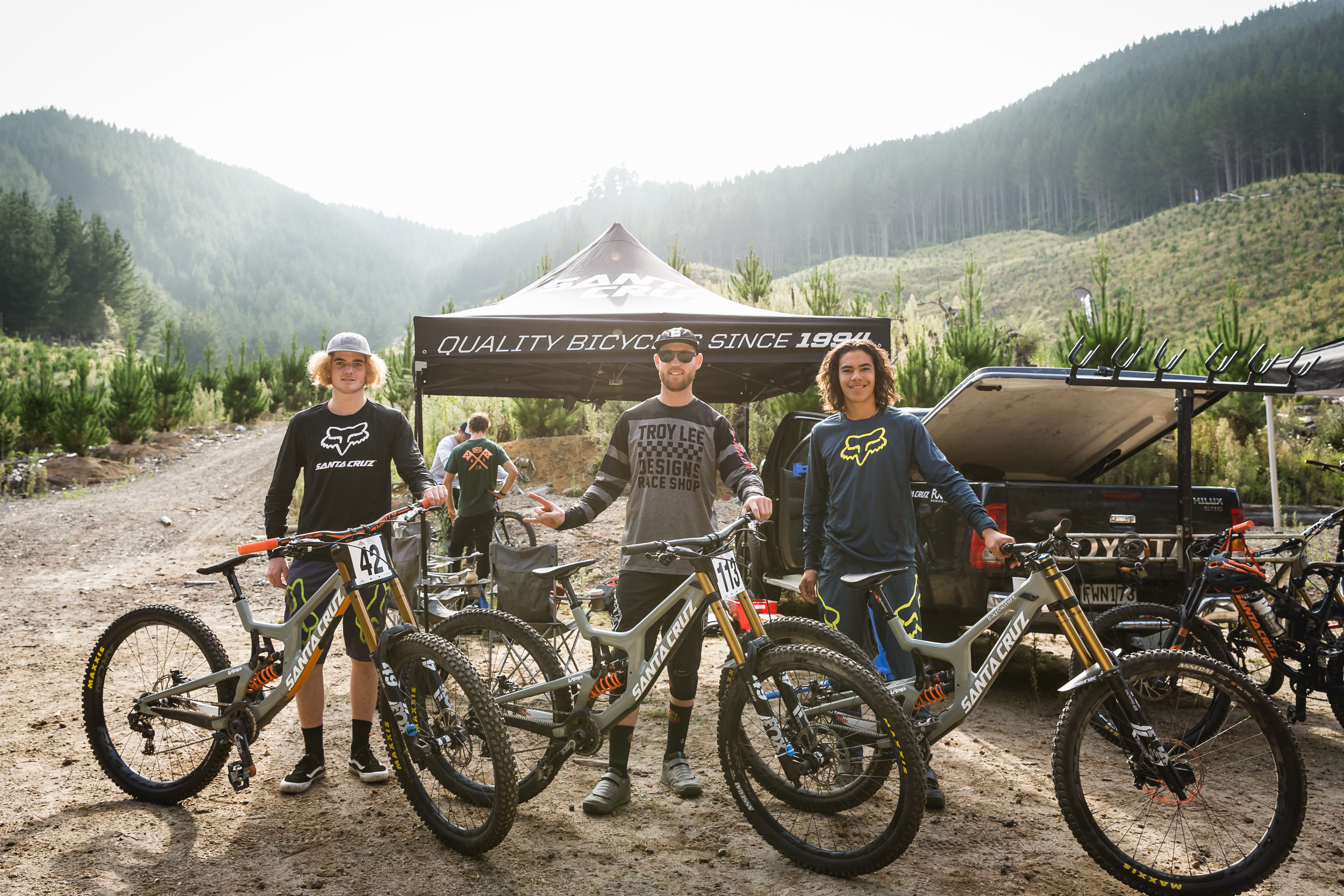 Hyperformance DH riders Finn, Cam and Tuhoto (left to right) at National Mountain Bike Champs, Rotorua. PC Cameron Mackenzie
