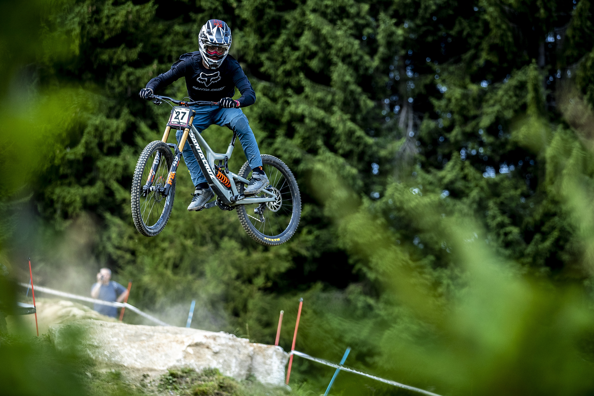 Finn sending it large at the Val di Sole World Cup. PC Sven Martin