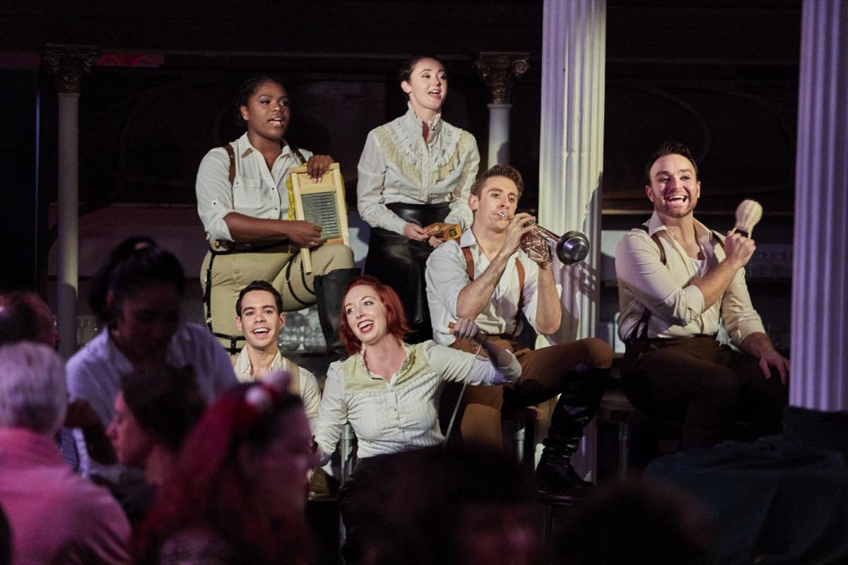 Lauren F. Walker, Caroline Amos, Alex J. Gould, Charles Osborne, Adrienne Paquin and Joshua Gonzales (clockwise from left) in MIDSUMMER A BANQUET, Photo by Chad Batka.jpg