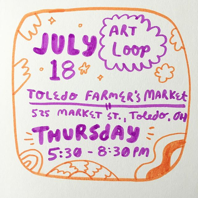I'll be at the July Art Loop in Toledo, Ohio Thursday, July 18 | 5:30-8:30PM! Come out say and hey person! . . . . . . . #artistmarket #toledoohio #419 #illustrator #localartist #artist #person