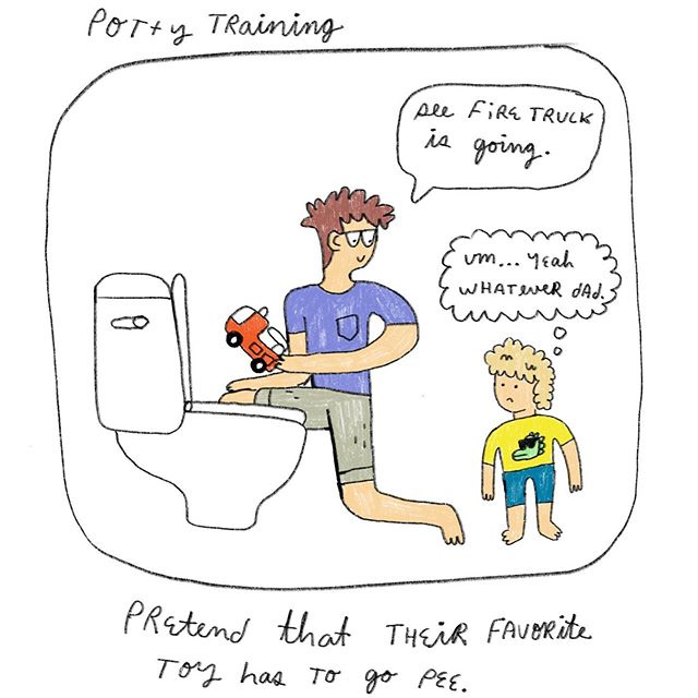 Parenting tips on potty 🚽 training negotiations: Pretend their favorite toy has to go pee. . . . . . . . #parenting #tips #pottytraining #kids #negotiation #lessons #parenthood #illustration #illustrator #illustrationartists #illustratorsoninstagram #artistsoninstagram