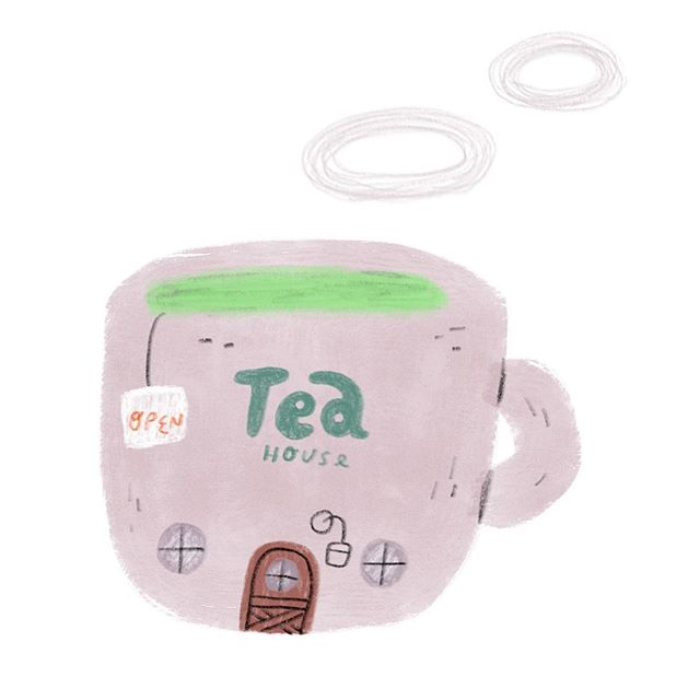 For all the tea 🍵 peeps. I used to be such a fan of green tea but I felt like a couple of years ago it was causing me bad headaches. Also if this says ted house, I will delete and fix 😁. . . . . . . . #teahouse #greentea #tealove #illustrator #illustration #illustratorsoninstagram #artistsoninstagram #kidsbooks #kidsbookillustrator #picturebookartist