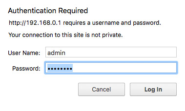the typical login screen for a router's administration interface