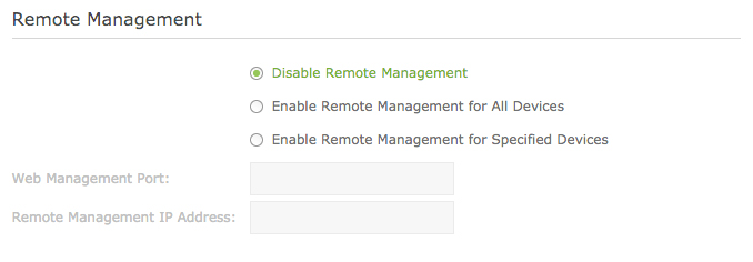 Remote management  should  be disabled by default, but definitely check that it is