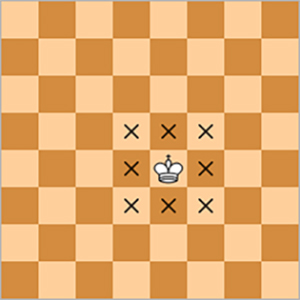 Kings move one square at a time in any direction