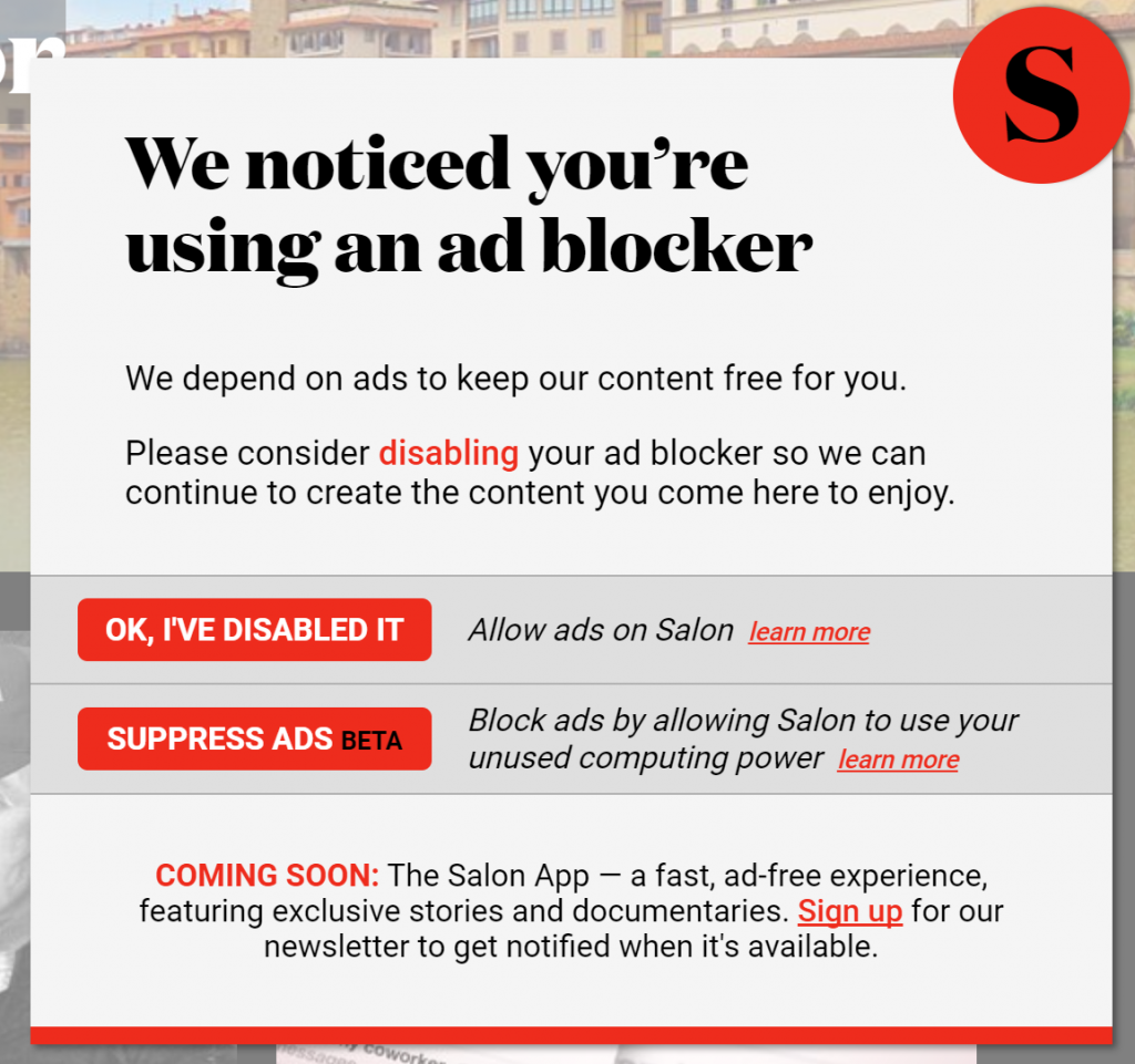salon.com gives visitors a choice - view the ads or mining for cryptocurrency