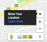 The Show Your Location button on Google Maps