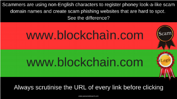 If you weren't on the ball, you might not notice that one of these URLs is going to take you to a fake version of the blockchain website designed to steal your credentials. If you fall for the scam then you can wave goodbye to the contents of your wallet.