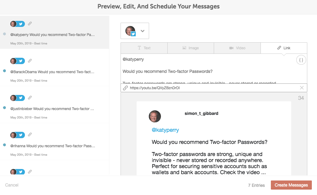 coschedule - create messages using the csv upload