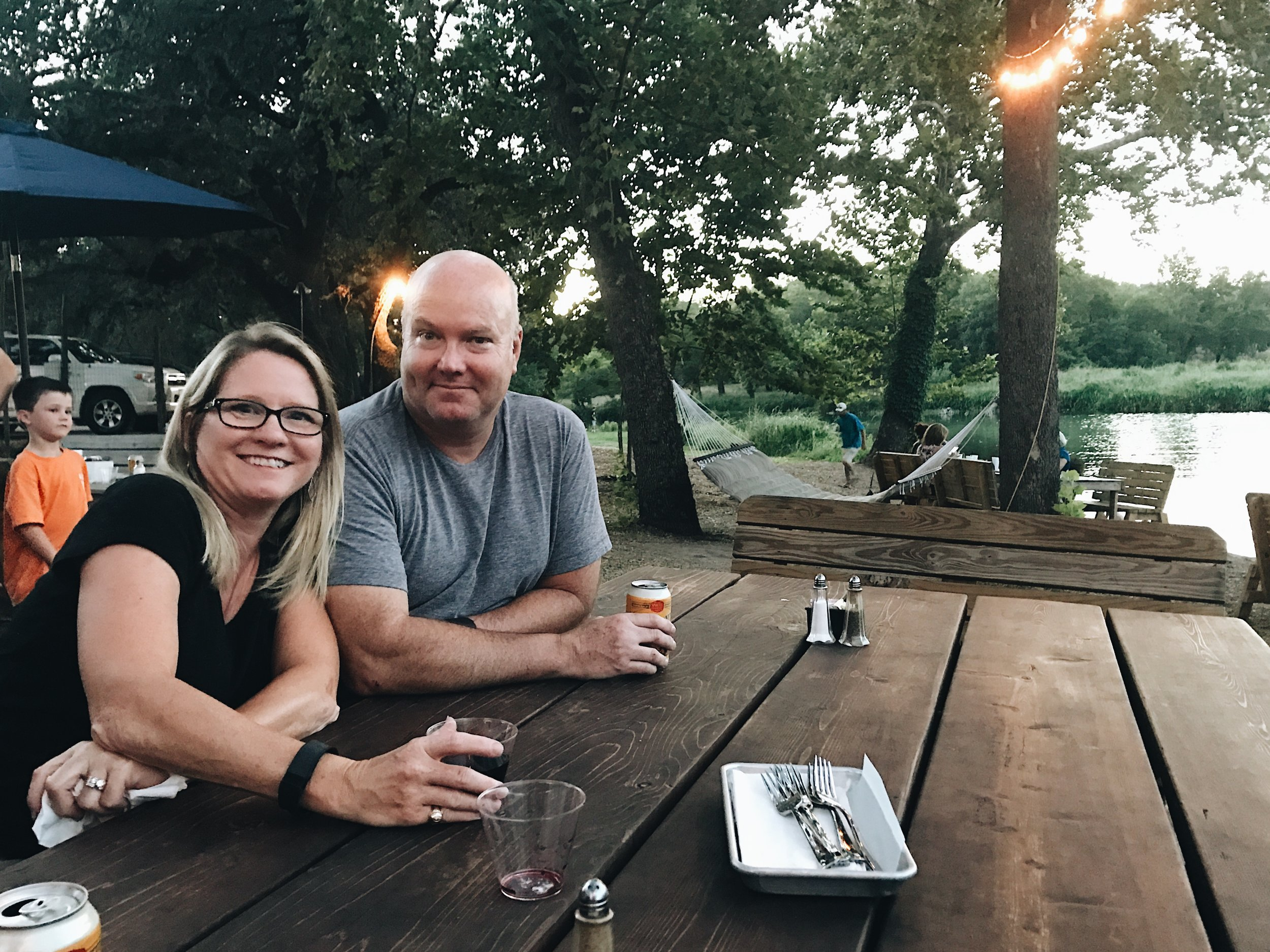 My parents at my new FAVORITE restaurant in Wimberley, Texas- The Back Porch.