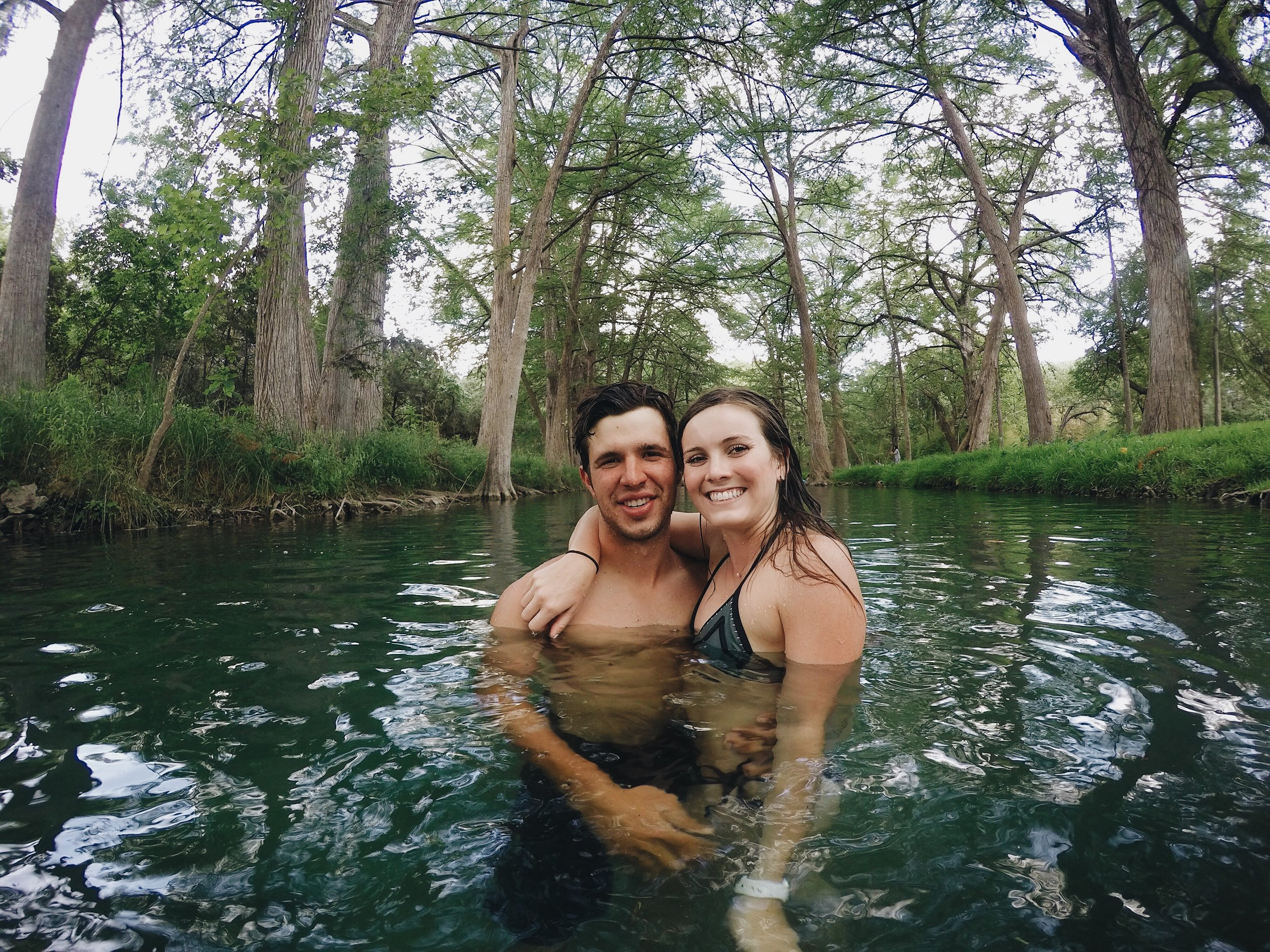 Beautiful swimming hole lined with Cypress trees in Wimberley, TX.