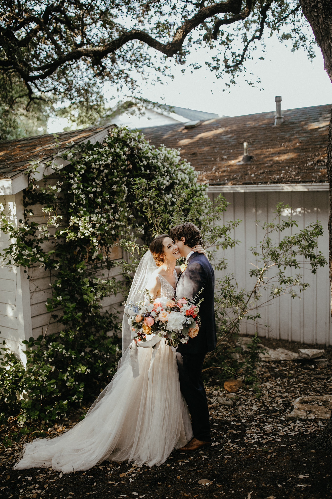 Spring Wedding Flowers | Peach and Blue Florals | Mercury Hall Austin