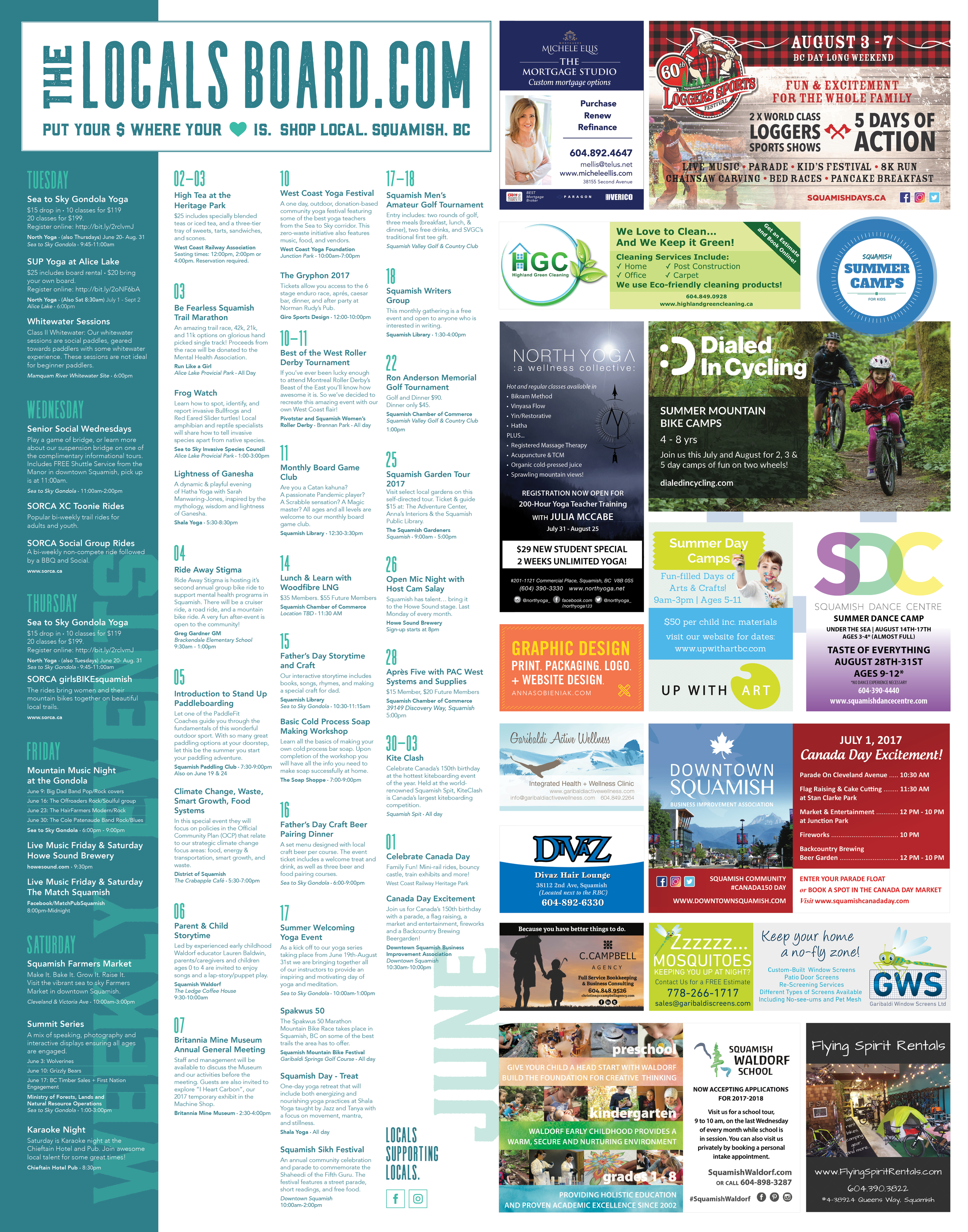 Our June Poster Board. Check out all the amazing local events and businesses who are show cased on this poster.