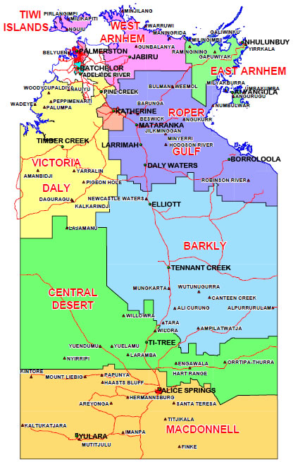 Map of Northern & Southern Regions of NT-IA  Ref: https://www.placenames.nt.gov.au