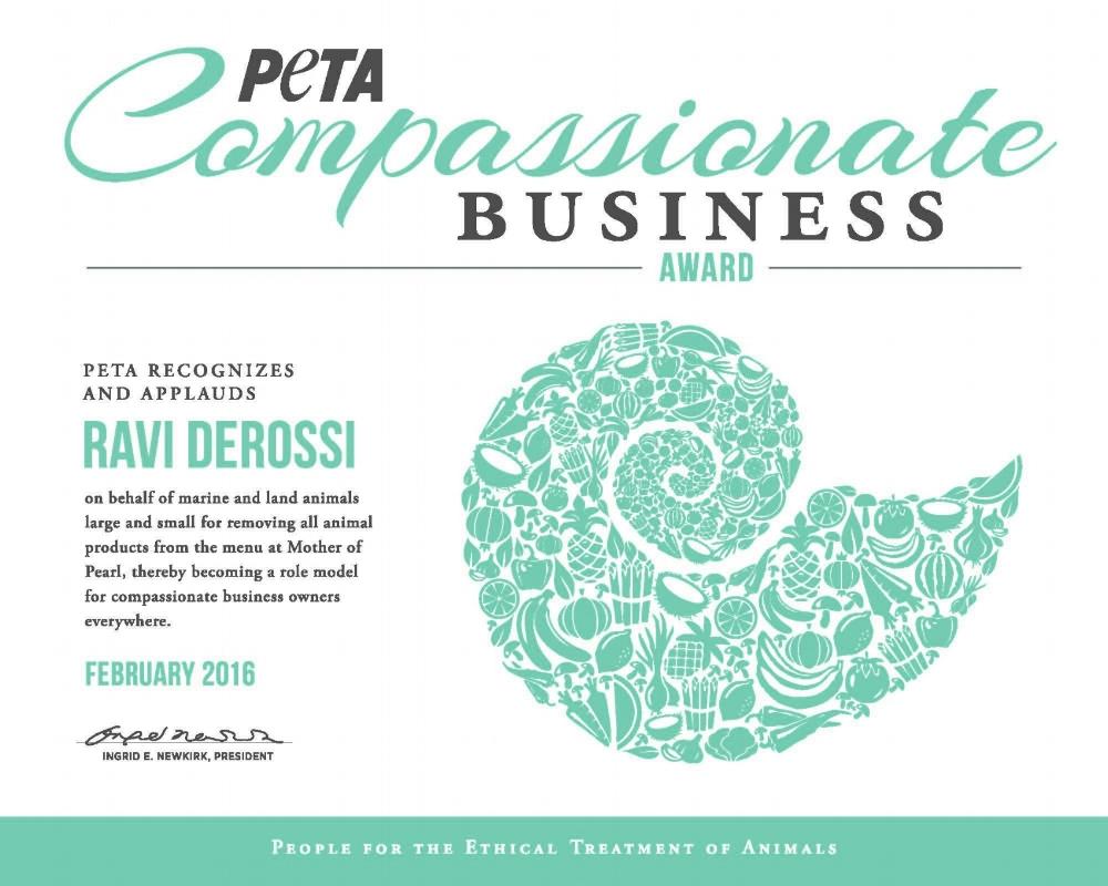 Picture of Ravi DeRossi PETA Compassionate Business Award Picture.jpg