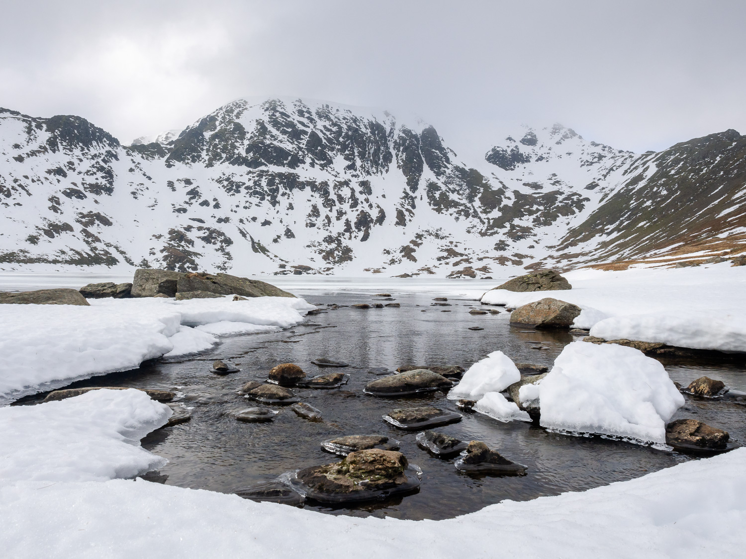 Helvellyn & Red Tarn Lake in Winter