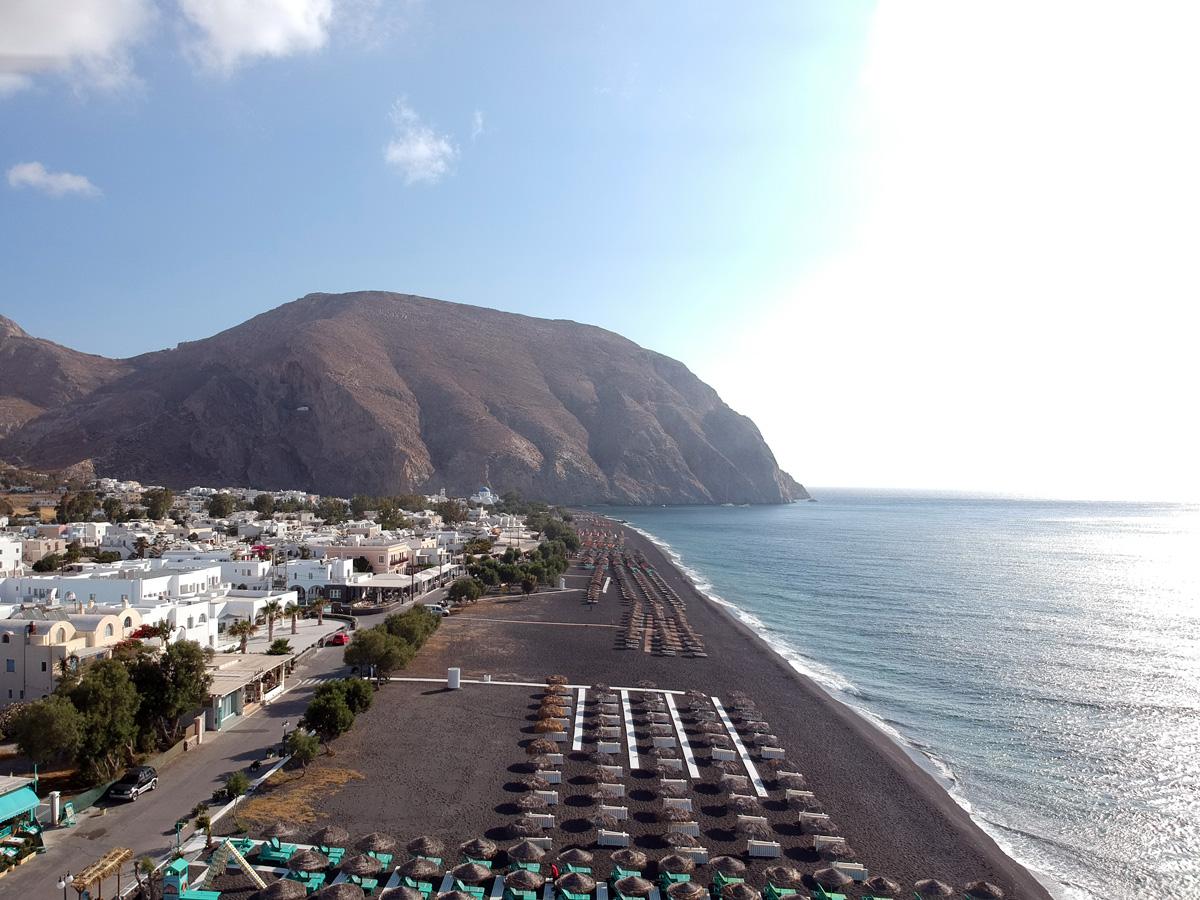 One of Santorini's black sand beaches