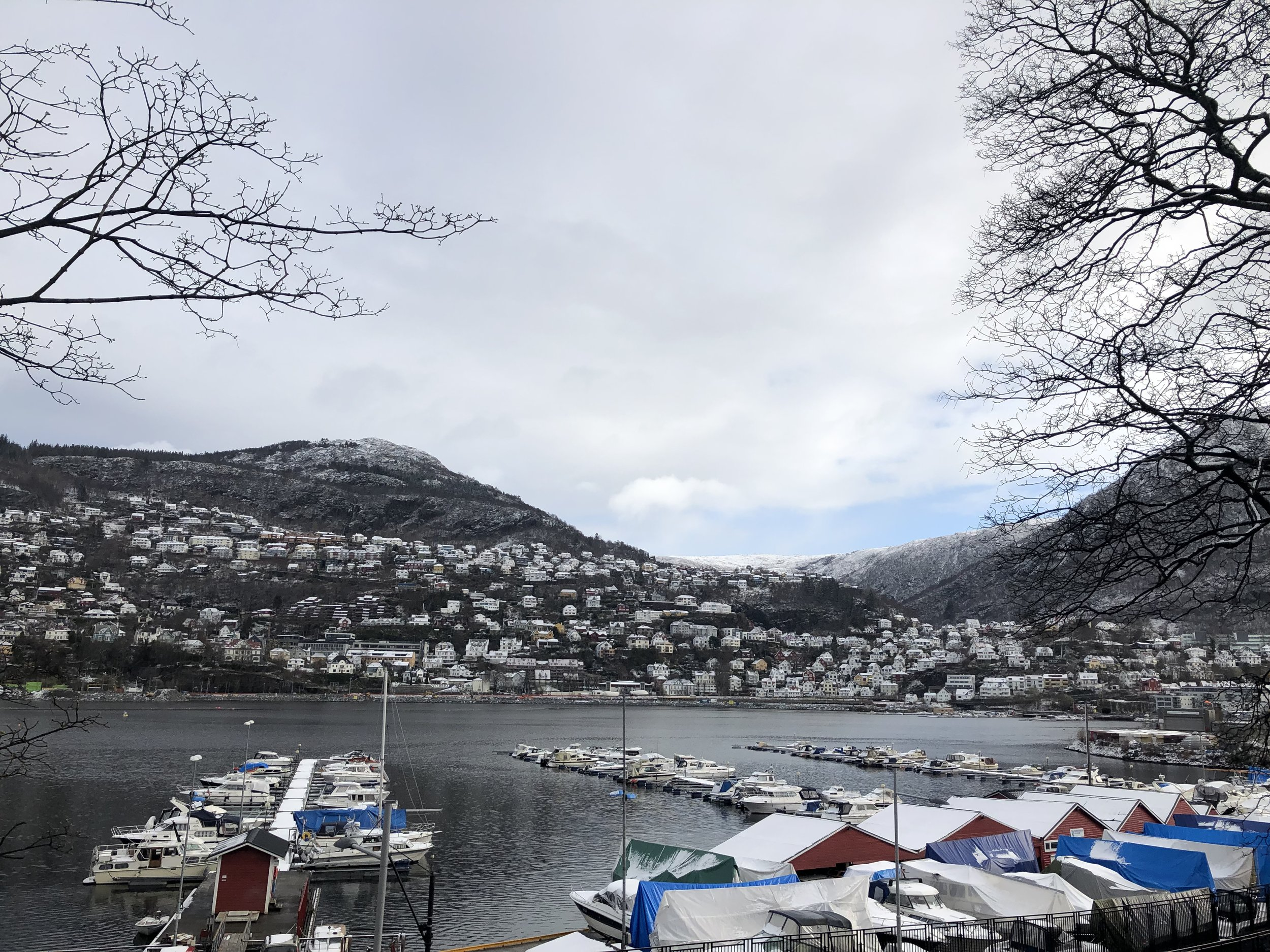 The view from the street that our Airbnb was on in Bergen…not too shabby!