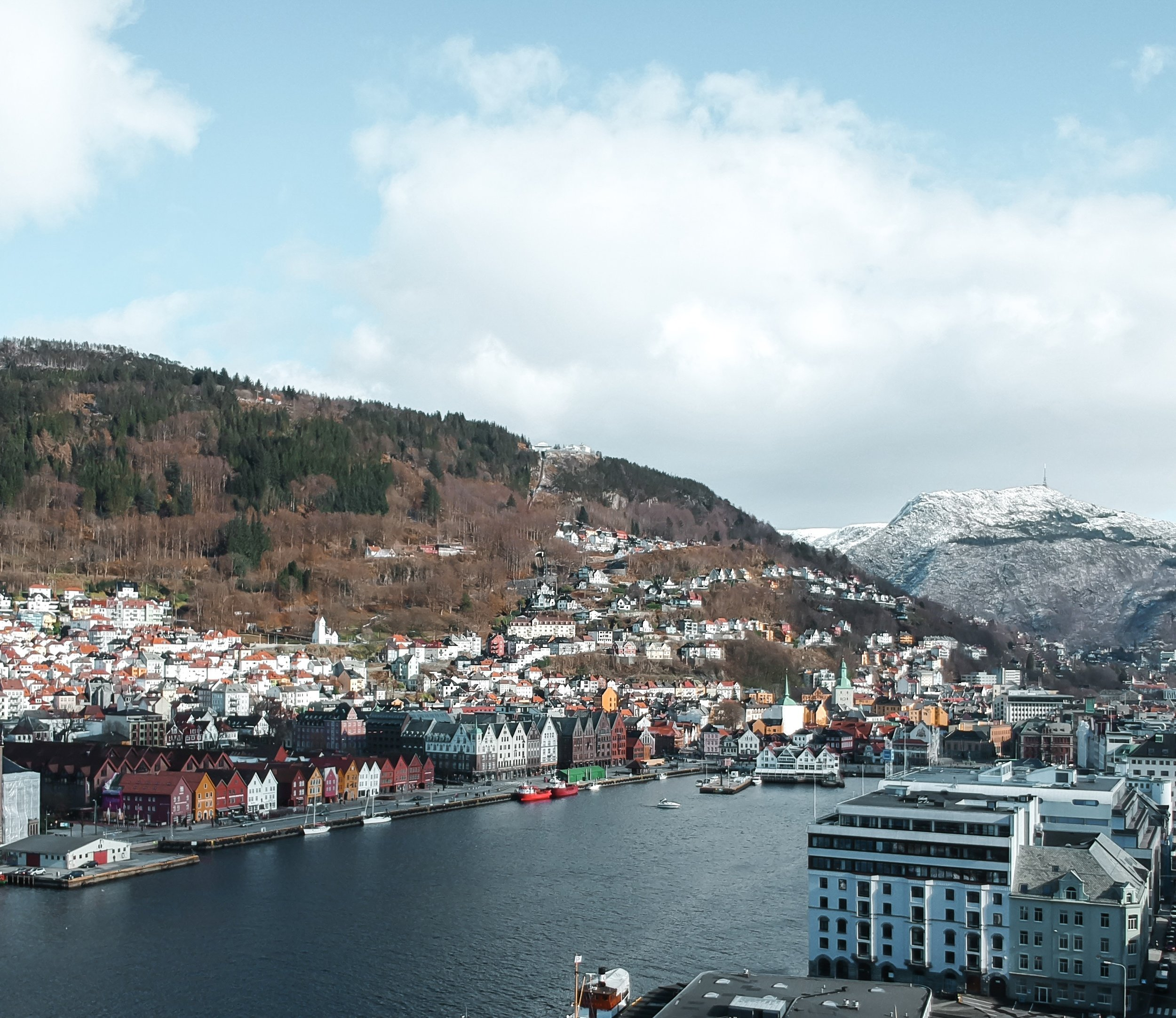 One of the few drone shots I captured of Bergen with Bryggen in the foreground