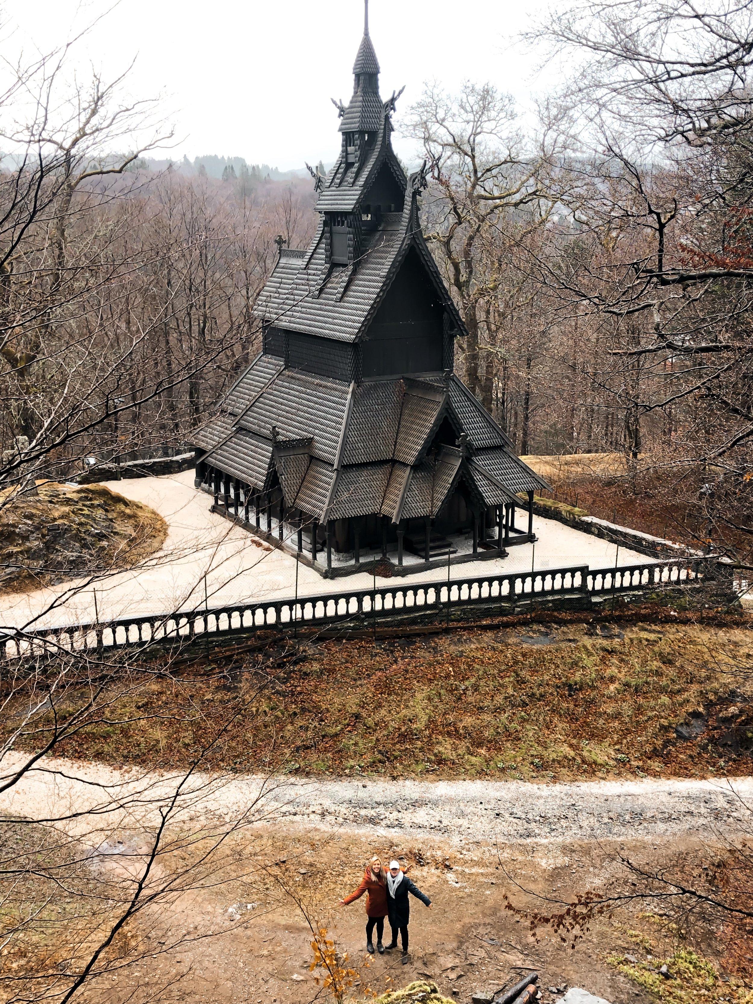 The gorgeous, unique stave church in Fantoft
