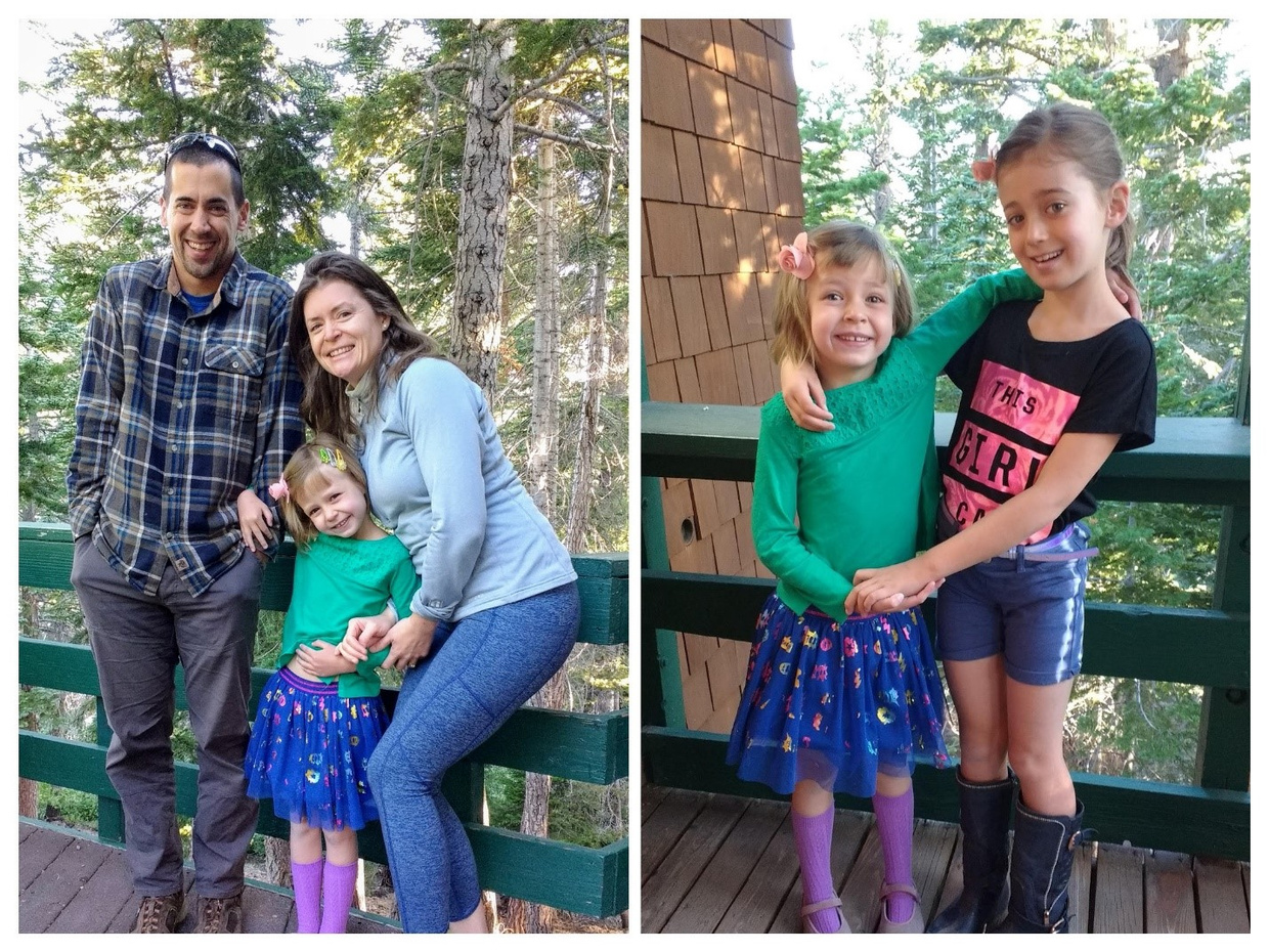 Image Description: A collage photo. Photo on left shows Eric and Charlotte Kaufman on their deck hugging their youngest daughter L. Photo on right shows L and C Kaufman with their arms around each other and smiling at the camera.