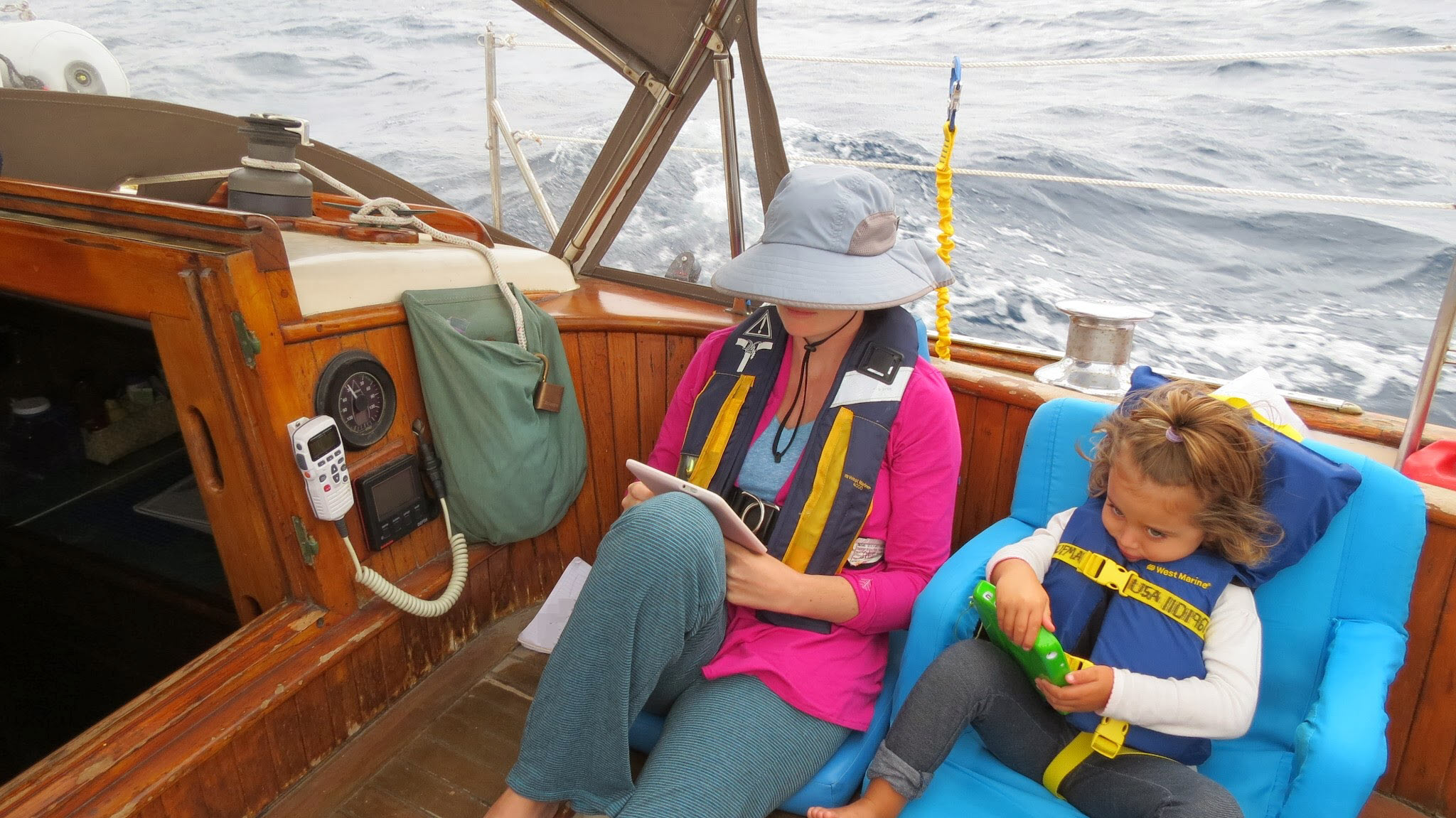 Charlotte and Cora Kaufman. Sailing across the Sea of Cortez from La Paz to La Cruz de Huanacaxtle, Nayarit. December 2013.