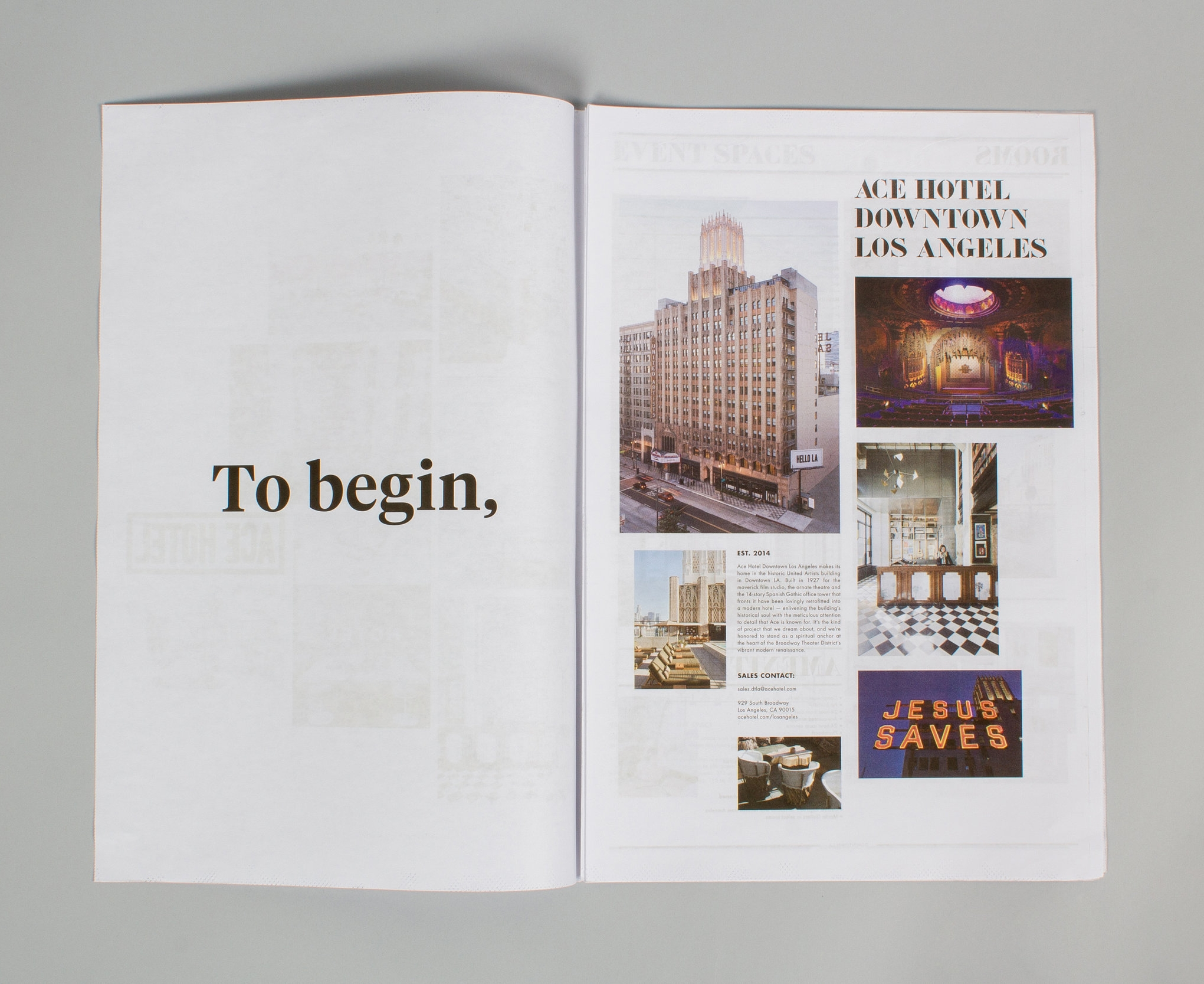 Ace Hotel Sales Collateral — 2015