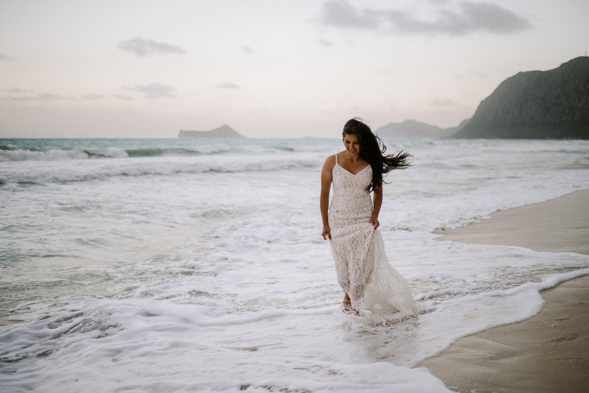 Hawaii bride on a beach