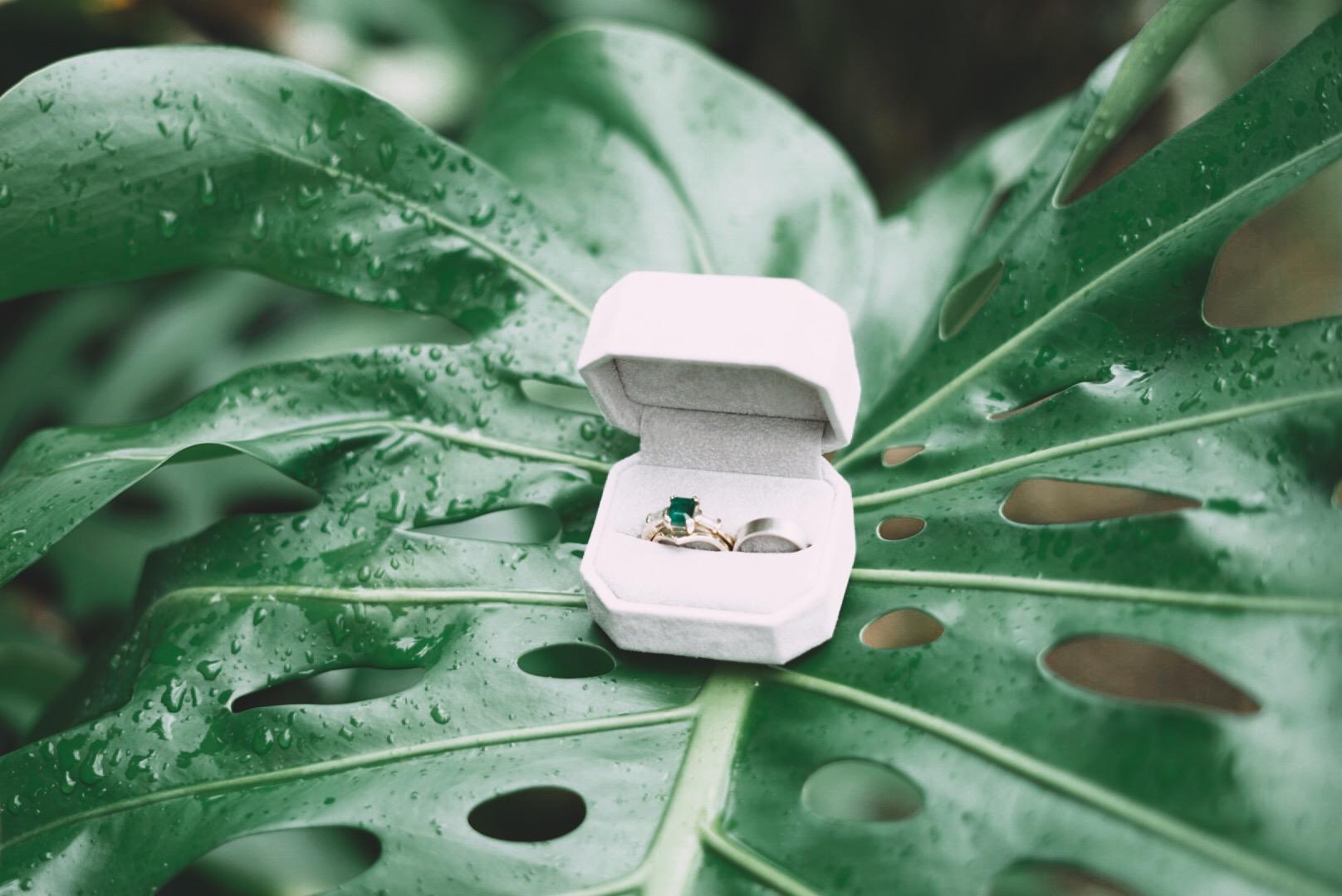 Monstera Leaf Wedding Rings