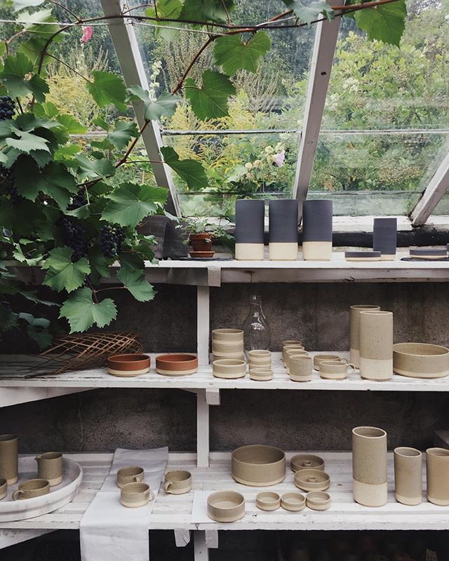 Yesterday, during @stockholmdesignweek we hosted a release mingle for our ceramics collaboration with @paradisverkstaden. It's was a magic evening in the heart of Södermalm, Vitabergsparken in Stockholm. @studiotinahellberg arranged the ceramics collection in the beautiful greenhouse and flower garden and Luise and David from @gkstories made delicious buckwheat blinis. We had such a great evening, thank you all🧡  #lowkeygoods #grandpastore #stockholm