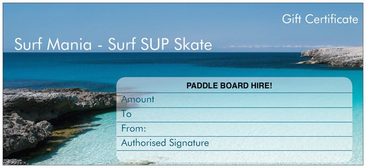 Store & Paddle Board Hire Gift Card -