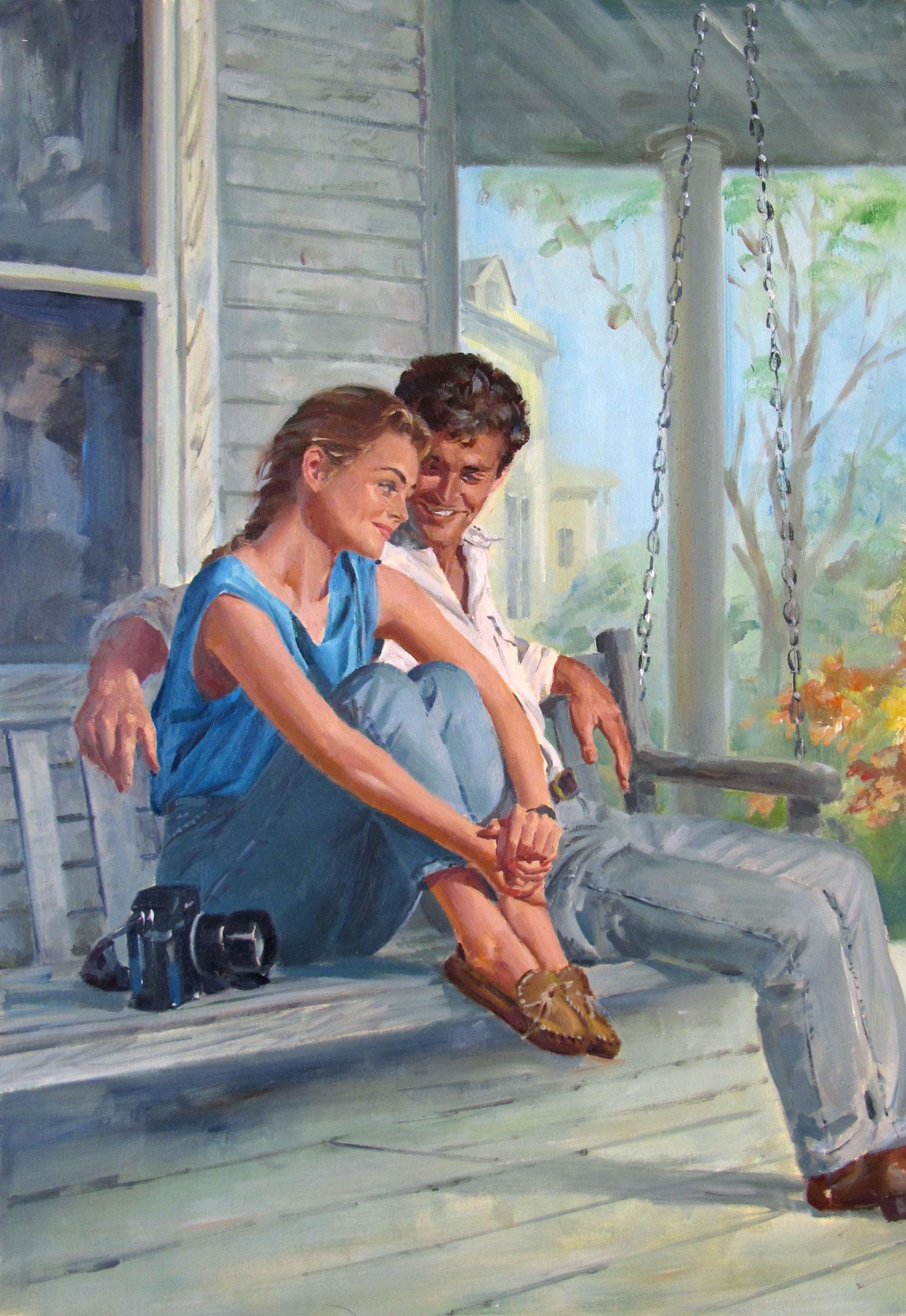"""A Neighborly Affair – 10""""x15.5"""" – oil"""