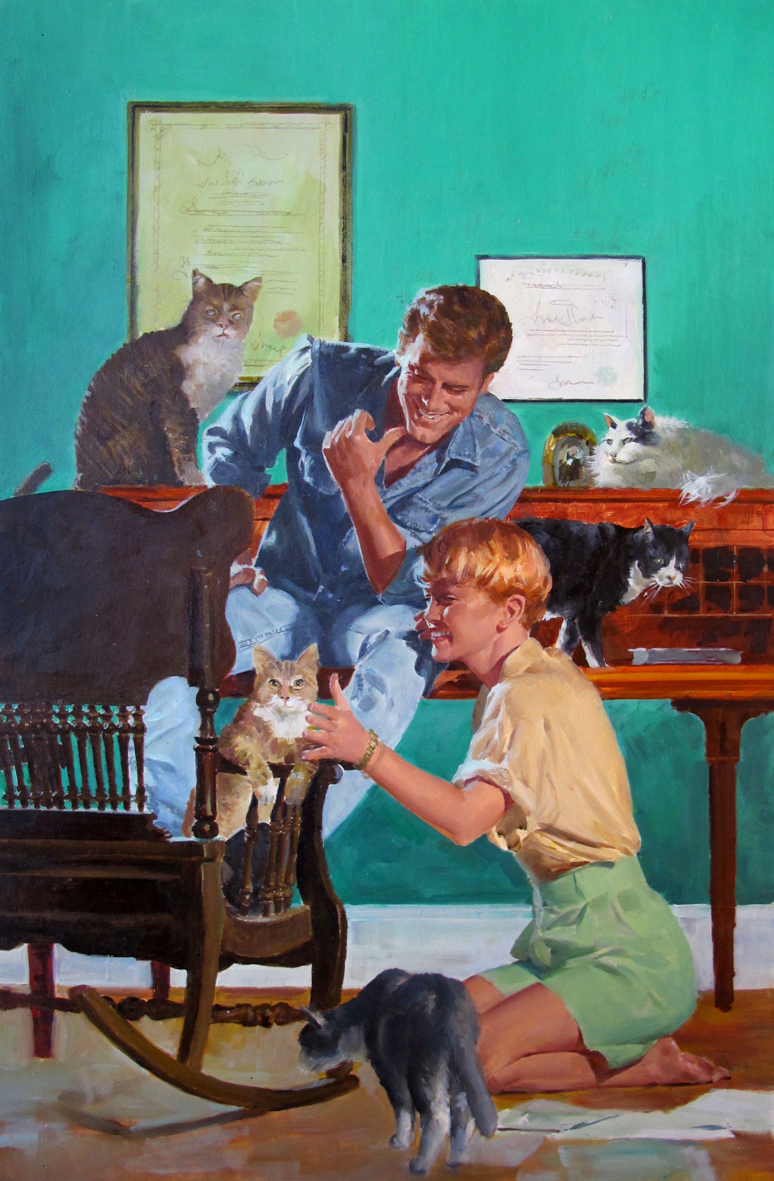 "Cats in the Belfry – 12""x18"" – oil"