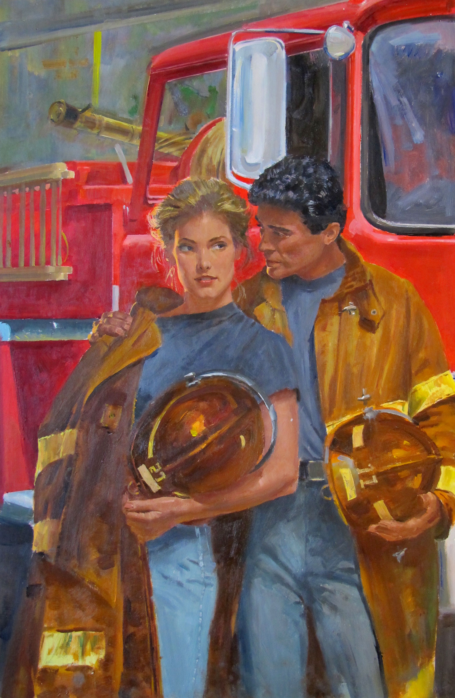 "Fully Involved, 1990 – 11.5""x18"" – oil (BGSU)"