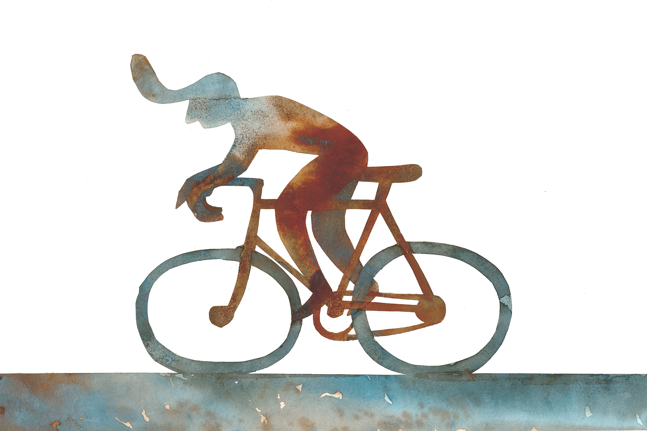 Cyclist in gouache