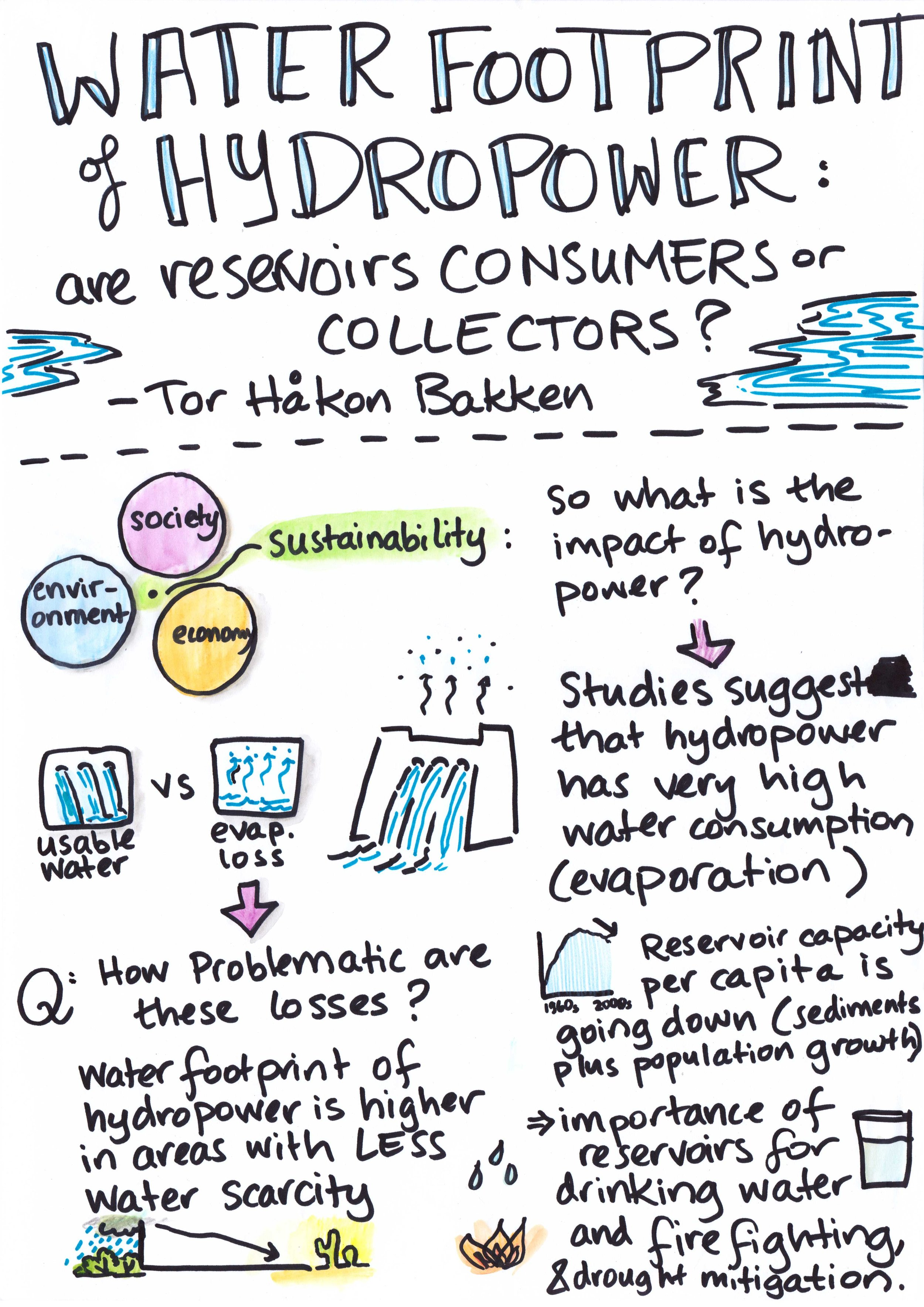 The keynote talk by Tor Håkon Bakken explored whether hydropower reservoirs consume more energy than they provide; the talk especially touched on the issue of loss through evaporation in hydropower.